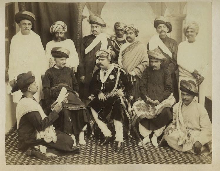 Maharajah of Bhavnagar Raol Takhtsinhji Jaswantsinhji with his Court - c1880's