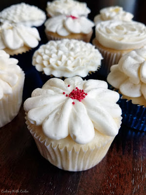 cupcakes with Italian Meringue Buttercream piped on top