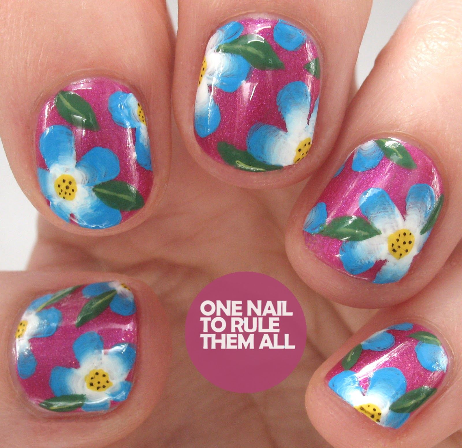 One Nail To Rule Them All: Gelish One Stroke Flowers Nail Art