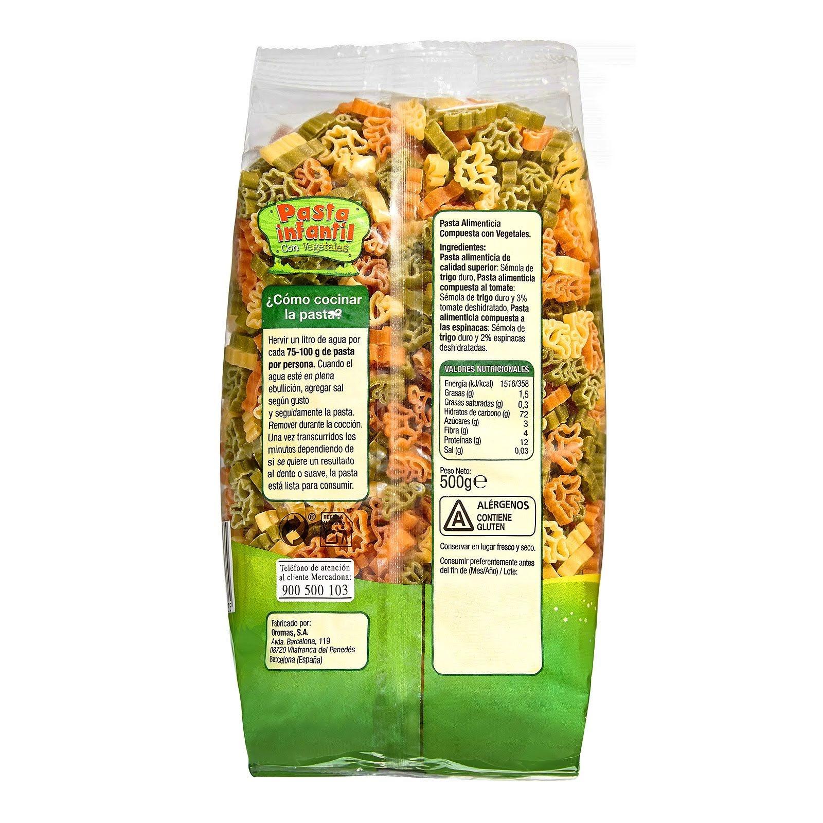 Pasta infantil con vegetales Hacendado