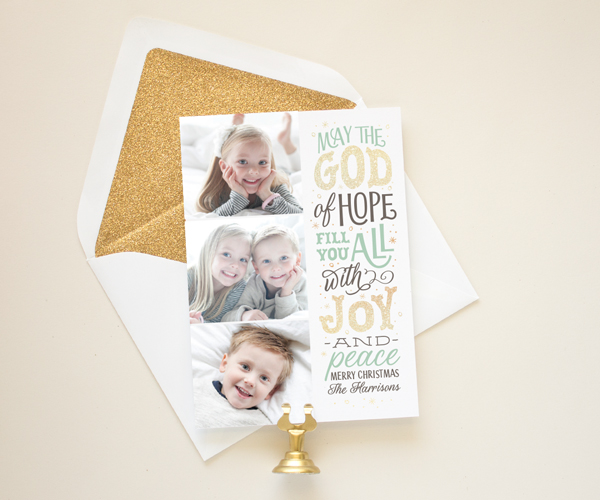 gold glitter christmas card