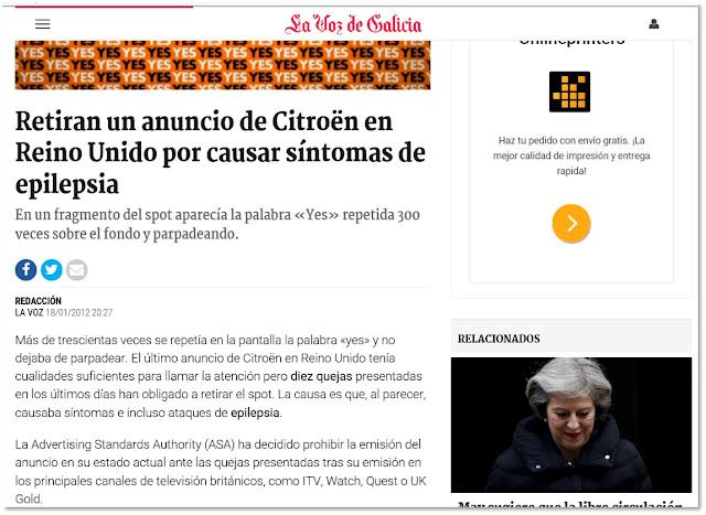 Pantallazo de la noticia 'Retiran un anucnio de Citroën en Reino Unido por causar síntomas de epilepsia' en la voz de Galicia
