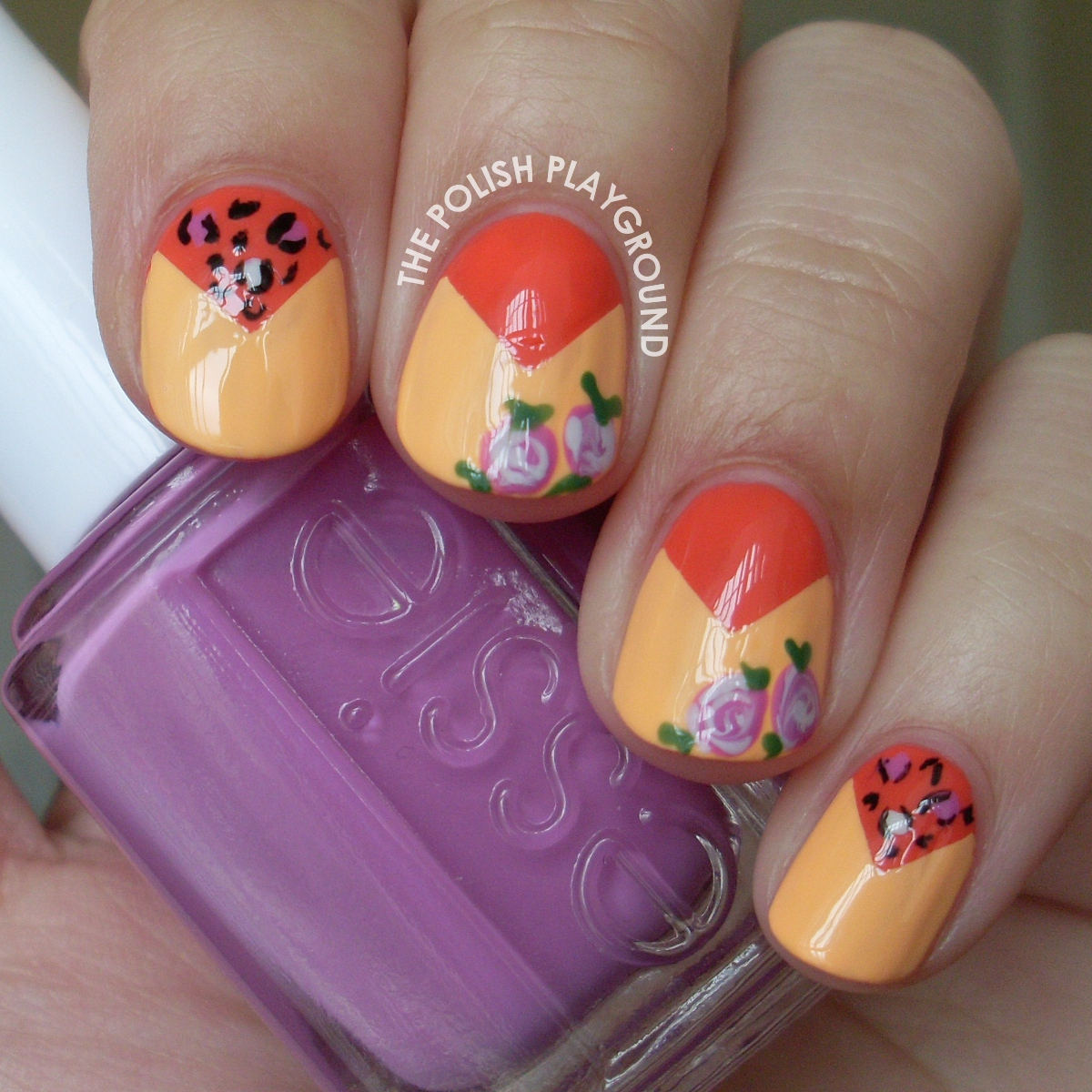 Roses and Leopard Print Color Block Nail Art