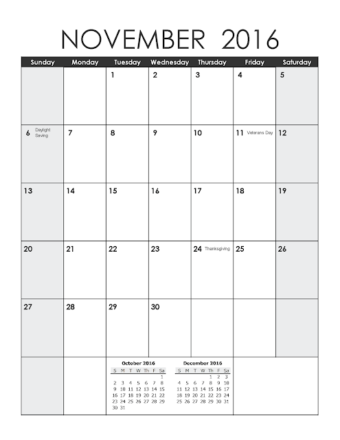 Printable Calendar Portrait, November 2016 Blank Calendar, November ...