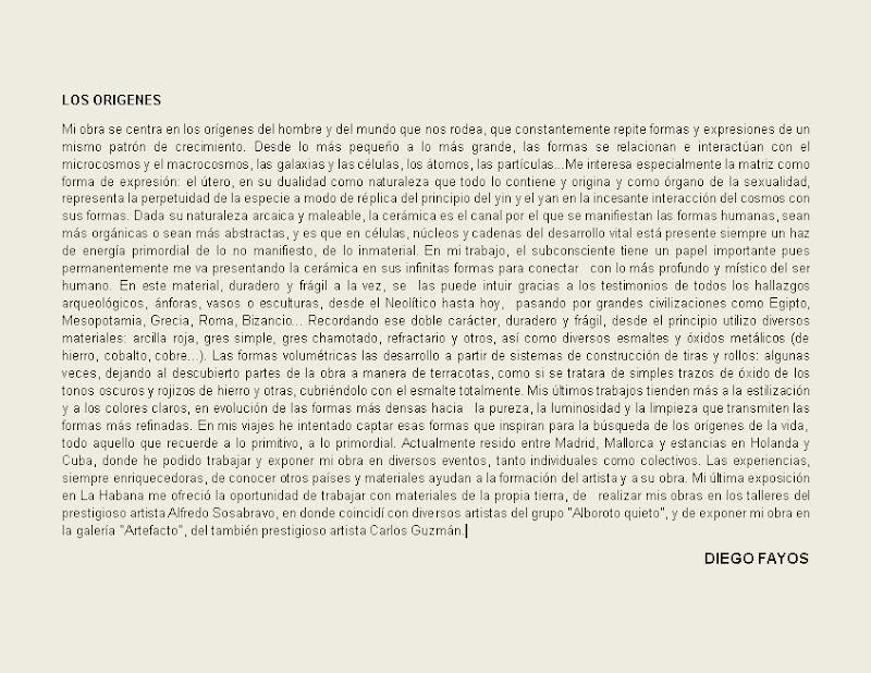 Diego Fayos - Exposición Orígenes. Nota de introducción de la exposición.