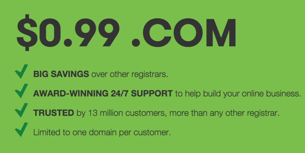 GoDaddy 99 Cents Domain Coupon Codes Working In August 2018