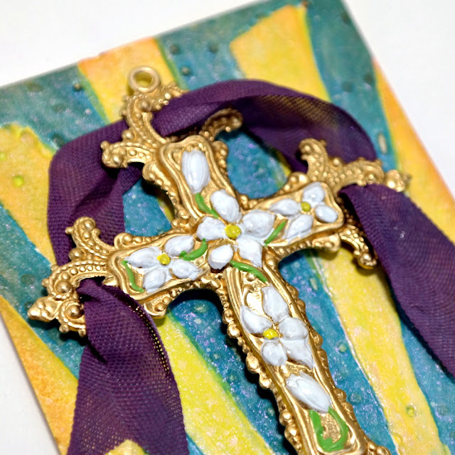 Painted Brass Victorian Cross by Dana Tatar for ColoriQue by Lisa Marie Jimenez
