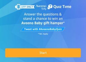 (All Answers)Amazon Aveeno Baby Quiz – Answer & Win Hampers Worth Rs 2 Lakhs