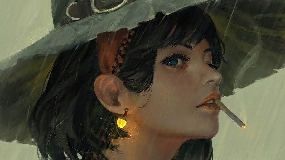Girl, Smoking, Art, Fantasy, 4K, #6.776