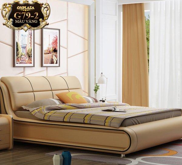 Mẫu giường ngủ bọc da hiện đại đẹp nhập khẩu G79-2( màu vàng) được bán tại giuongghe.vn