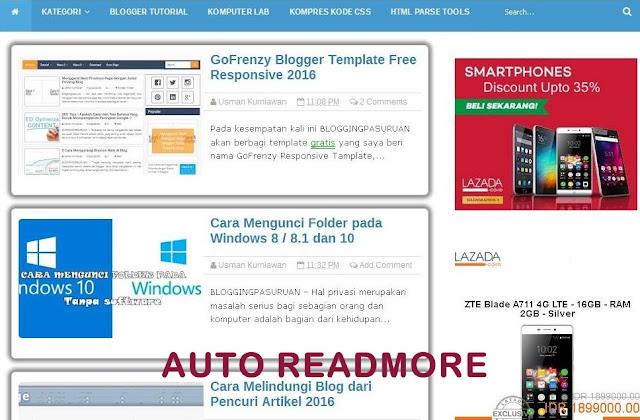 Cara Memasang Auto Readmore di Blogger Blog