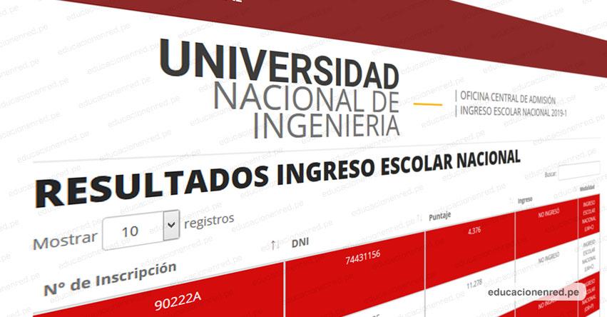 UNI publicó Resultados Examen de Ingreso Escolar Nacional 2019-1 (Domingo 2 Diciembre) Lista de Ingresantes Concurso Nacional Escolar - Examen Admisión - Universidad Nacional de Ingeniería - www.uni.edu.pe