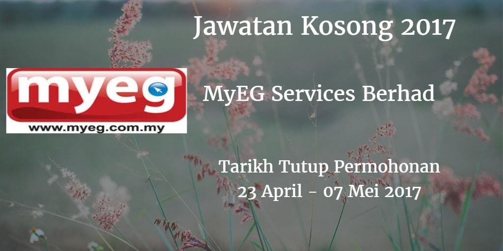 Jawatan Kosong MyEG Services Berhad 23 April - 07 Mei 2017