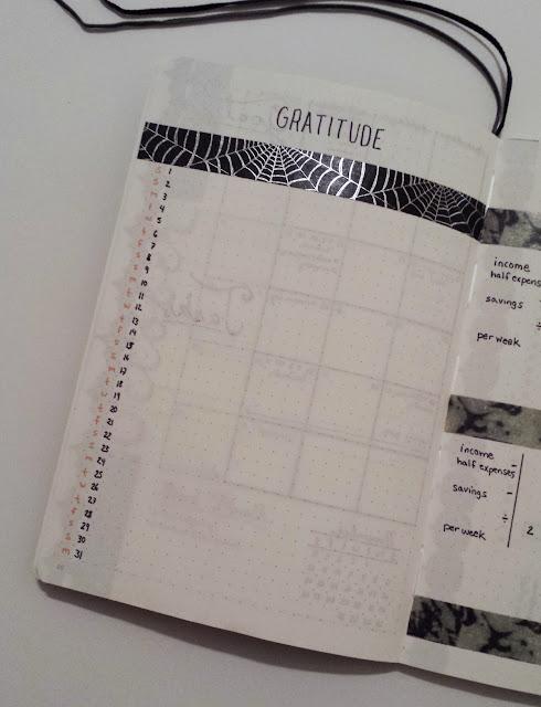 October 2016 Bullet Journal Monthly Layout Gratitude Log