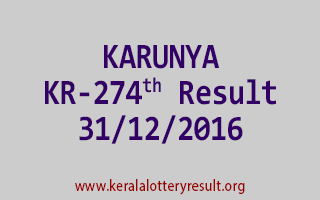 KARUNYA KR 274 Lottery Results 31-12-2016