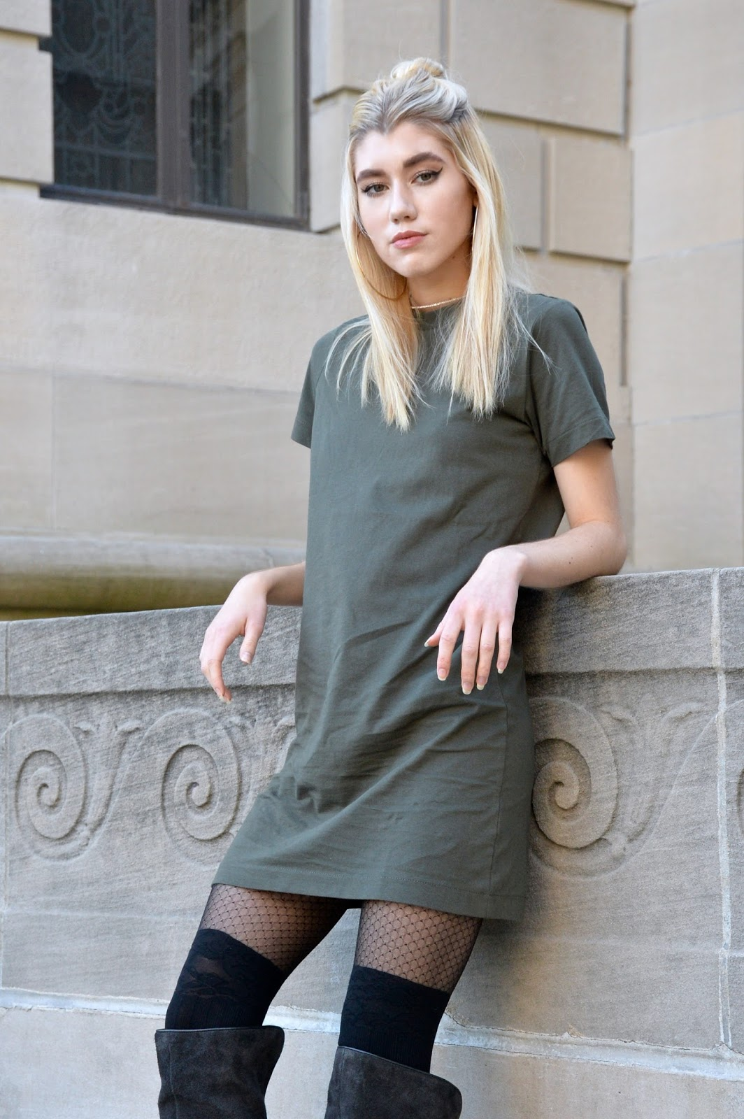 Hanging out in a green tee shirt dress with over the knee boots