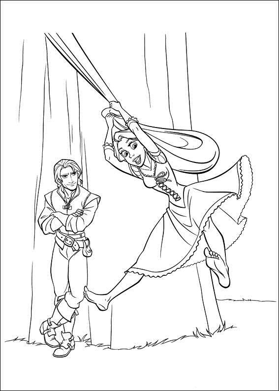 Dibujos Para Colorear De Tangled Enredados Rapunzel Saltando