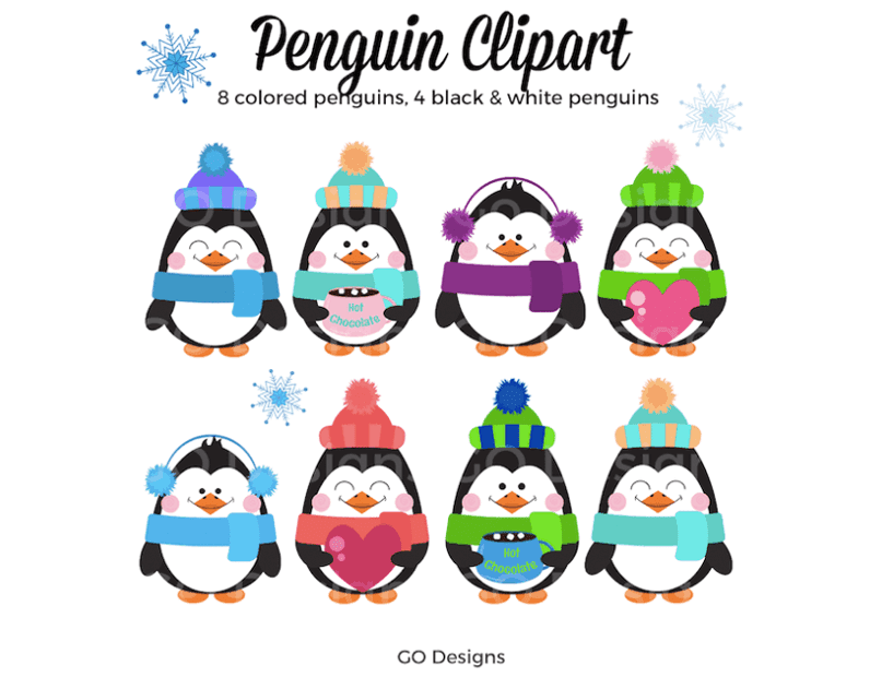Cute penguin clipart with hats, scarves, earmuffs, hearts and hot chocolate mugs