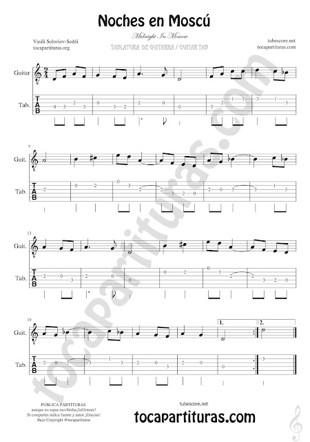 Tablatura y Partitura de Guitarra de Noches en Moscú Tablature guitar sheet music for begginers
