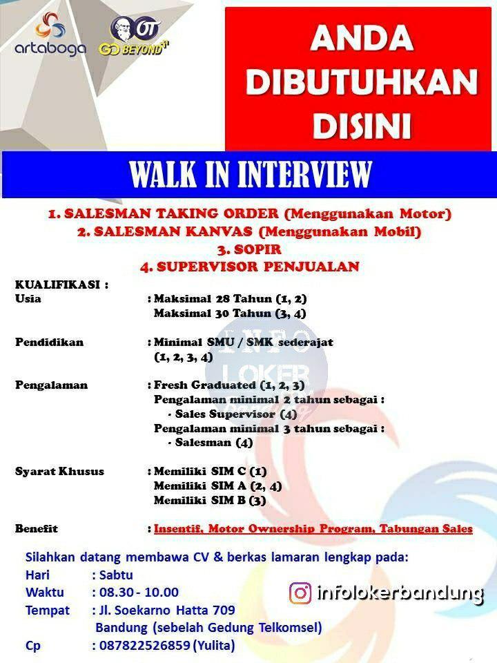 Lowongan Kerja PT. Arta Boga ( Orang Tua Group ) Bandung November 2018