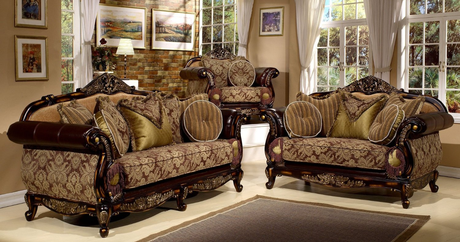 Antique Style 3 Pieces Living Room Sofa Set By Hollywood