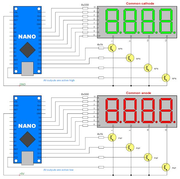 Modul de conectare a display-urilor multiplexate cu 7 segmente la Arduino