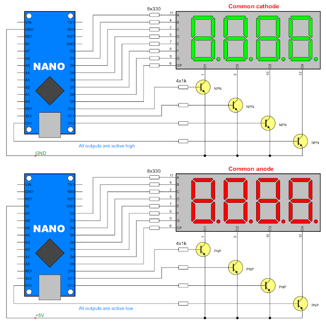 Connection of multiplexed display to Arduino