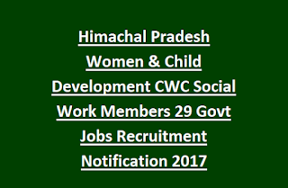 Himachal Pradesh Women & Child Development CWC Social Work Members 29 Govt Jobs Recruitment Notification 2017