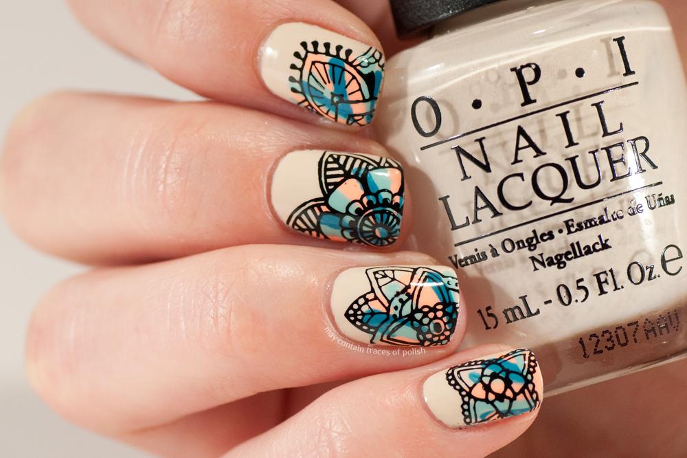 Colourful Stamping Nail Art - May contain traces of polish