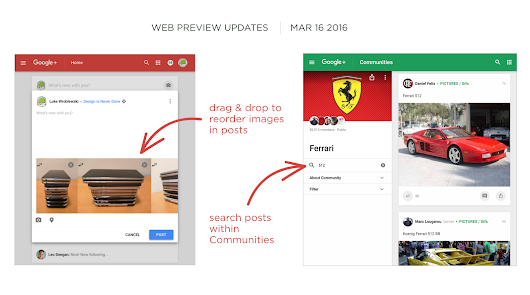 Community Post Search, Multiple Image Re-ordering Roll Out on Google+ Web Preview