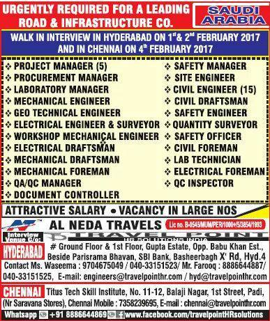 Road and Infrastructure Jobs in Saudi Arabia