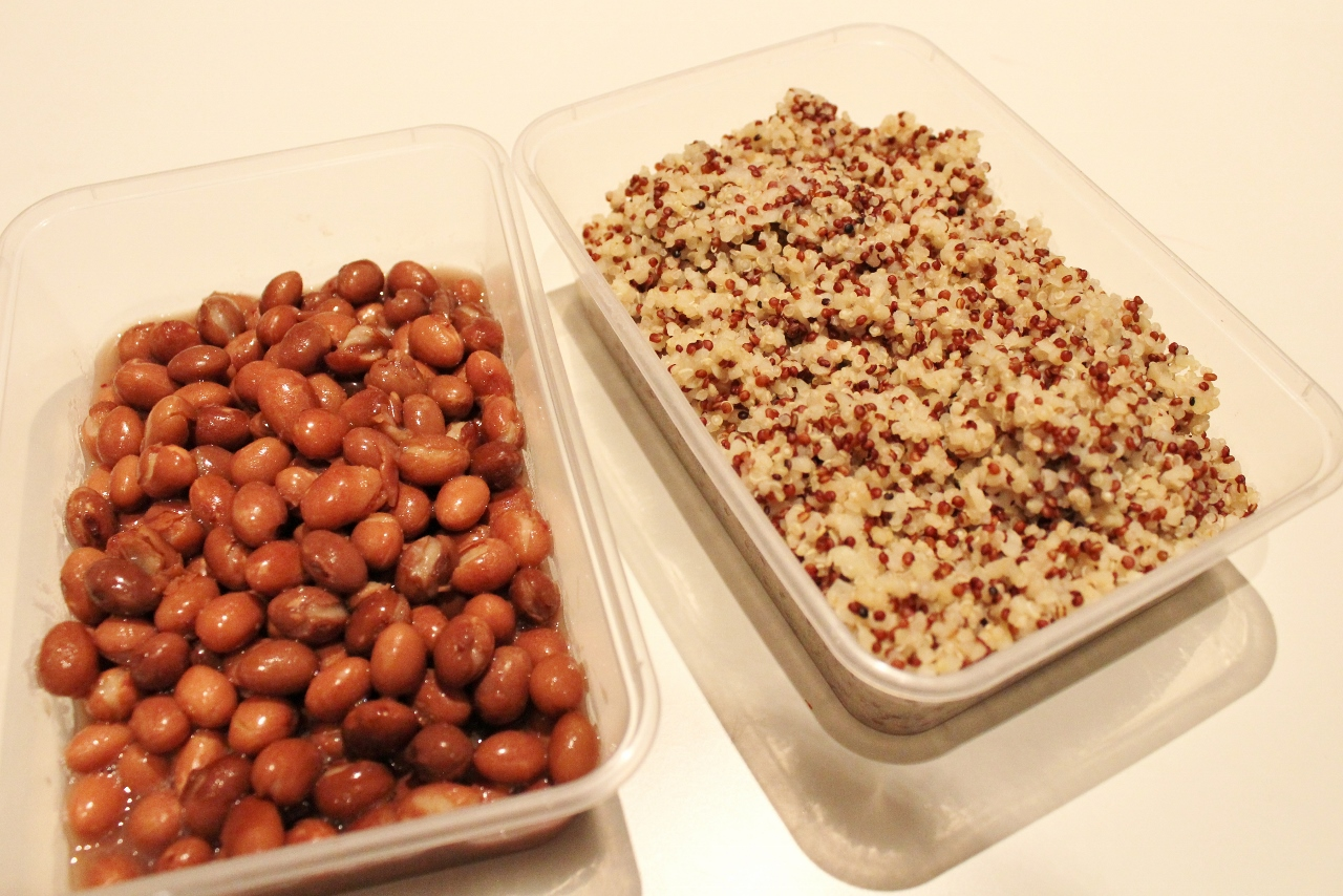 Beans, quinoa and bulgur wheat