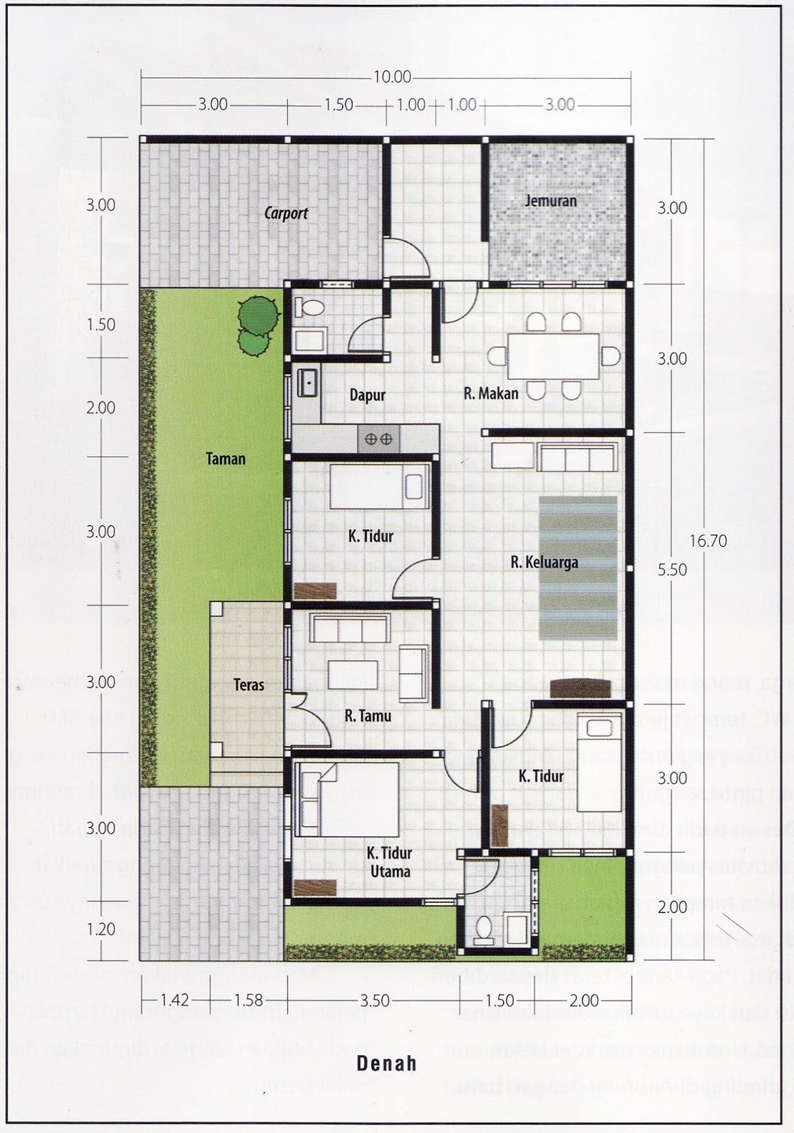 14 Denah Rumah Sederhana 1 Lantai 3 Kamar Tidur Rumahku Unik