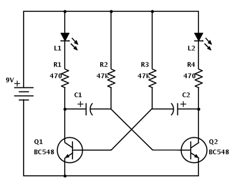 led running circuit - astable multivibrator