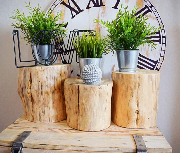 DIY - Aranżacja z drewnianego pniaka