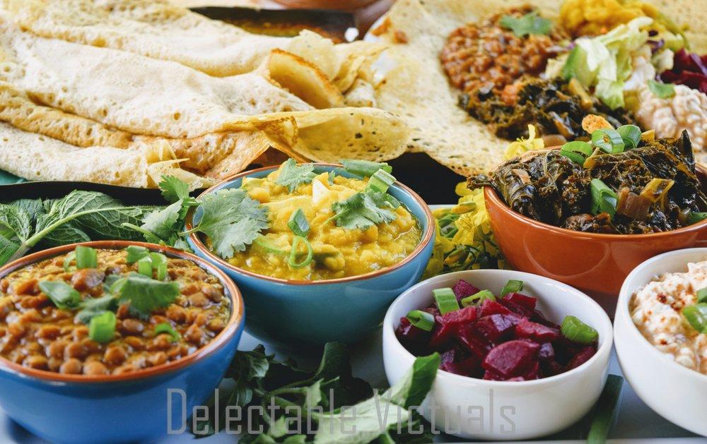 Ethiopian Spiced Stews with Injera alicha wat berbere mekelesha mitmita