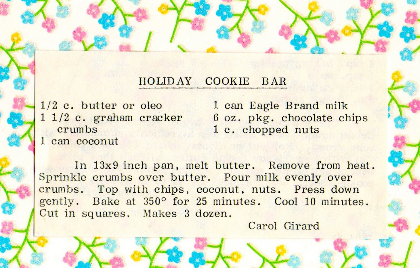 Holiday Cookie Bar (quick recipe)
