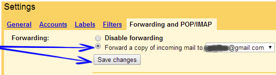 Select Forwarding Email And Save