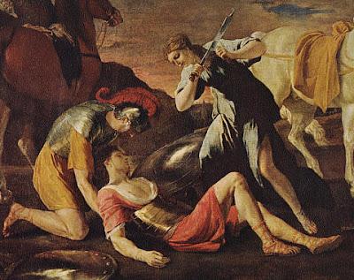 """Fragmento del cuadro """"Tancredo y Herminia"""" de Nicolás Poussin, 1.630"""