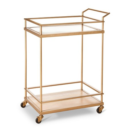 Wood, Glass and Gold bar cart