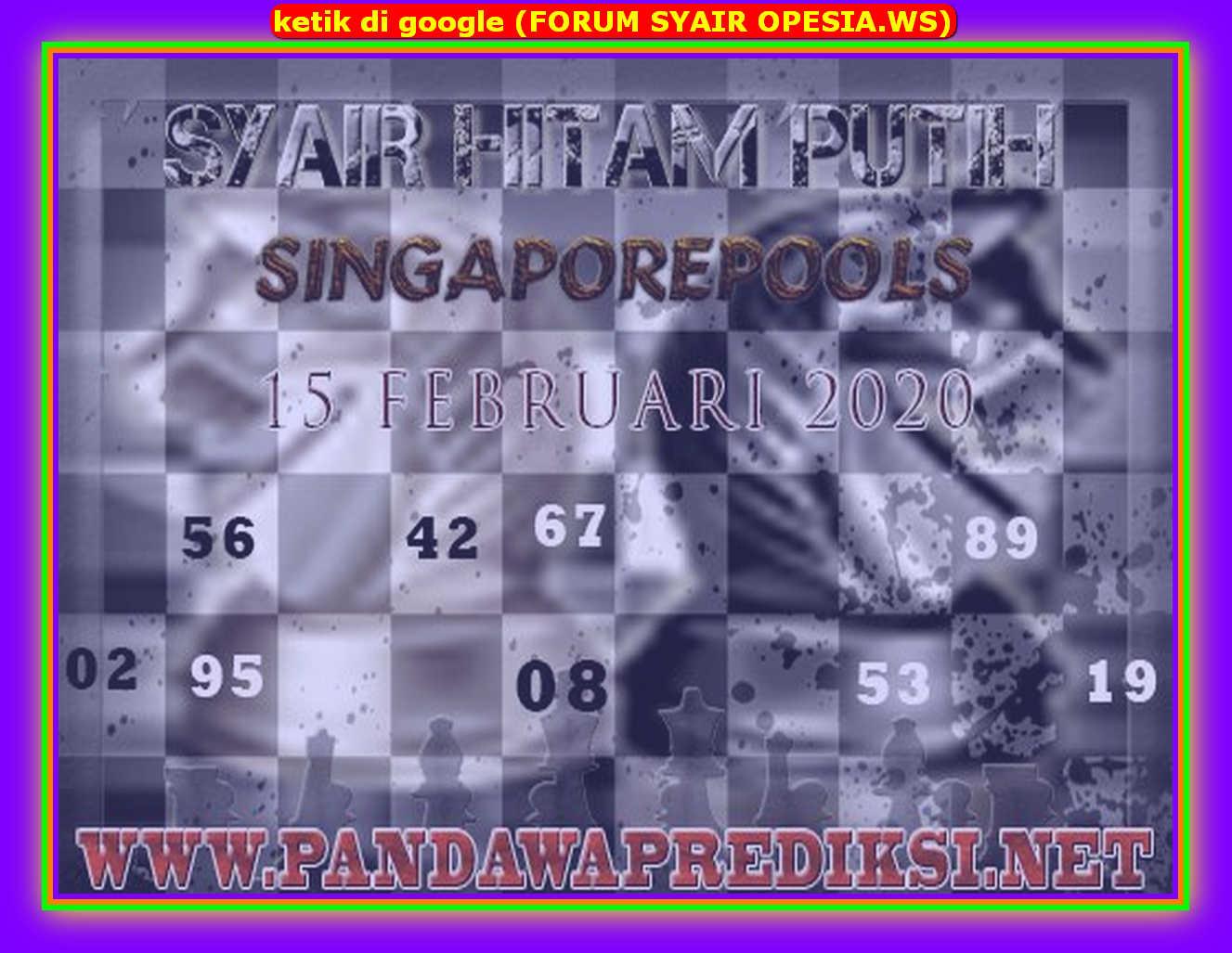 Kode syair Singapore Sabtu 15 Februari 2020 89
