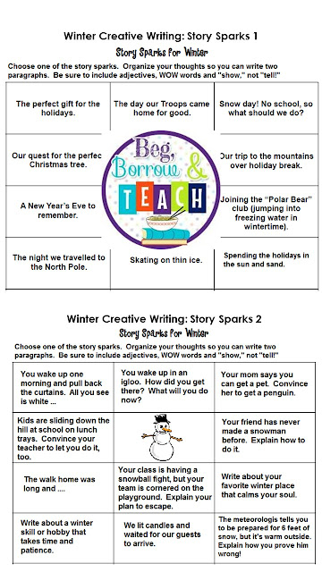 Winter Creative Writing: Story Sparks writing prompts unit