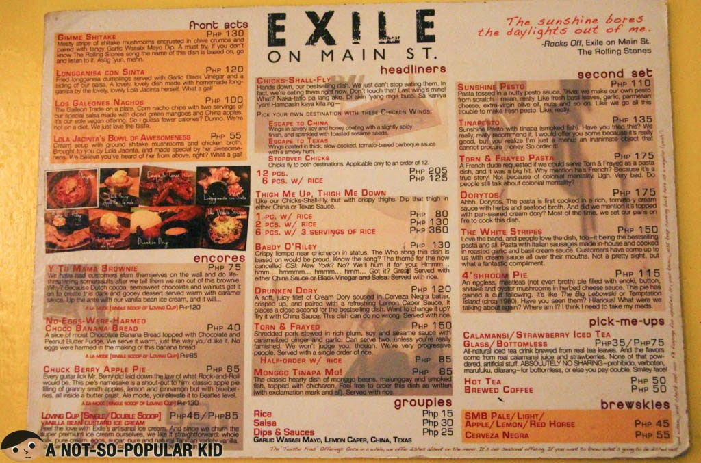 Exile on Main St. Restaurant Updated Menu as of June 8, 2014