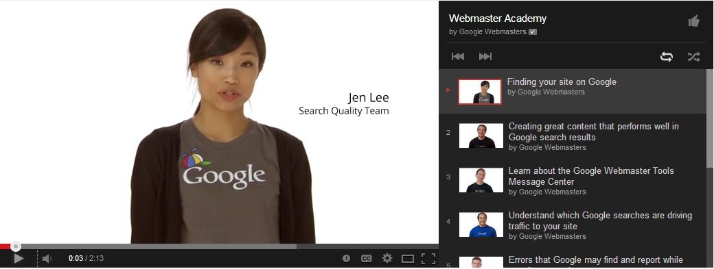 Webmaster's Academy form Google