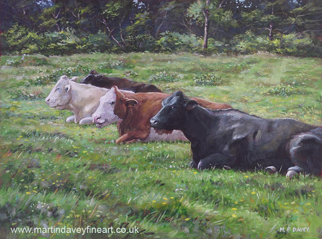 acrylic cow painting countryside new forest