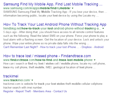find your lost android phone search results