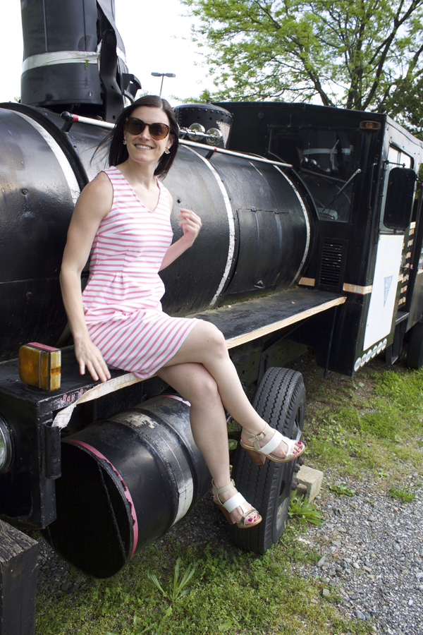 Naturally Me, My Style, Spring Style, Spring Dress, Pink Striped Dress, Old Navy Dress, Sleeveless Dress, Old Navy Pink Stried Dress, Stripes, Pink, Pretty in Pink, LOFT Sunglasses, Earrings, Ear Jackets