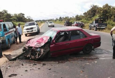 Pregnant Lady, Others Escape Death As Vehicle Somersaults (Pics)