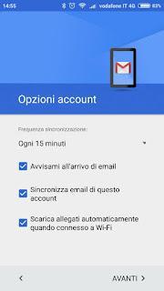 Email Virgilio sincronizzazione
