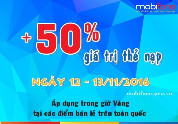 Mobifone khuyến mãi 50% giá trị thẻ nạp ngày 12-13/11/2016